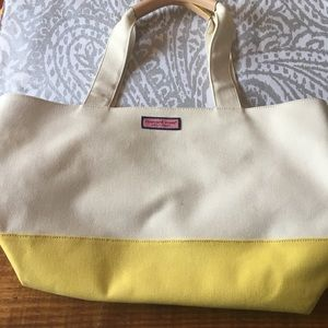 Vineyard Vines Canvas tote with yellow bottom
